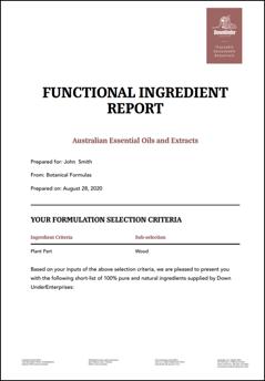 Functional Ingredient Report
