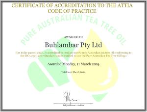 ATTIA COP certification for Buhlambar 2019